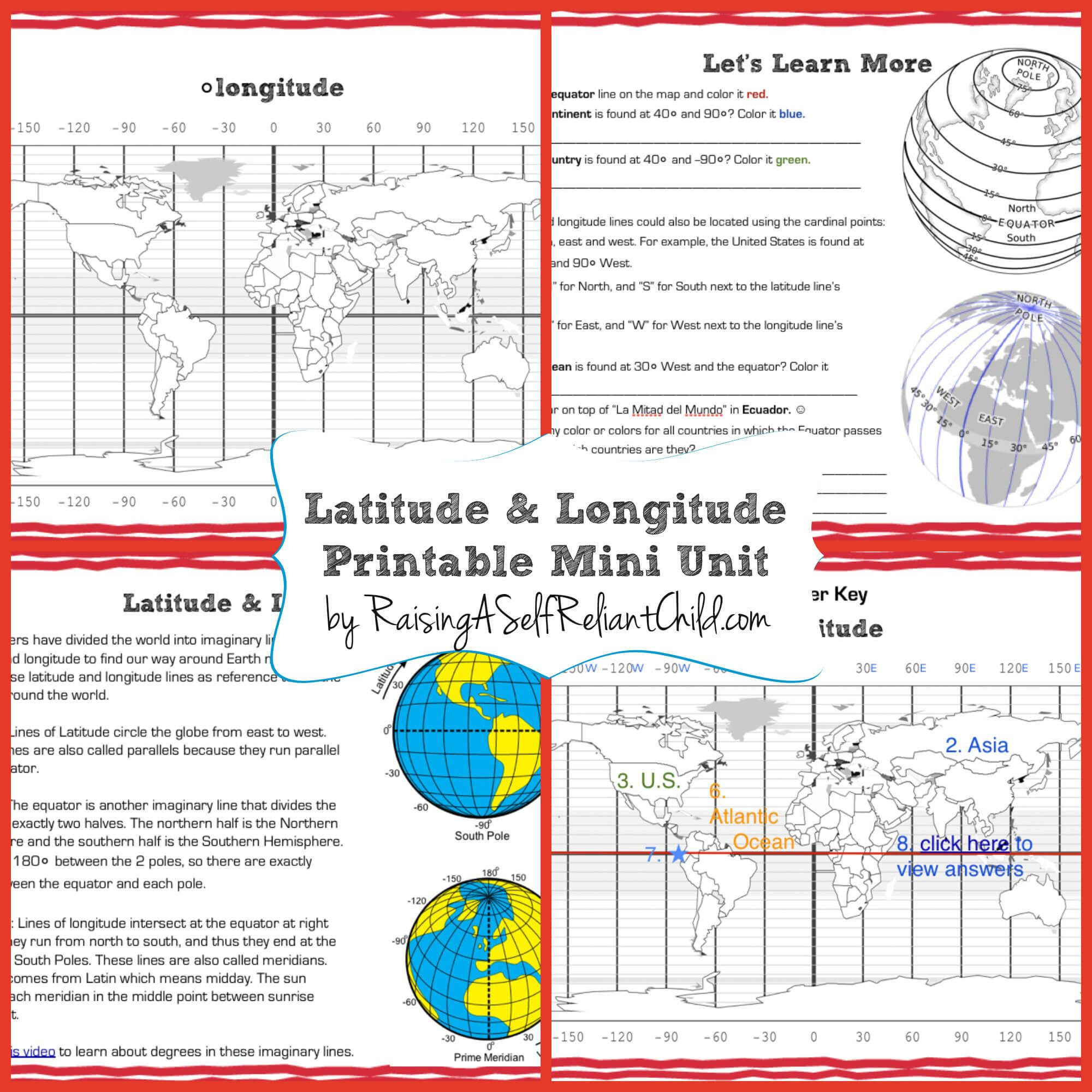 Get this free printable Mini Unit on Latitude and Longitude for kids ages  8-10. Inspired by our …   Geography lessons [ 2000 x 2000 Pixel ]