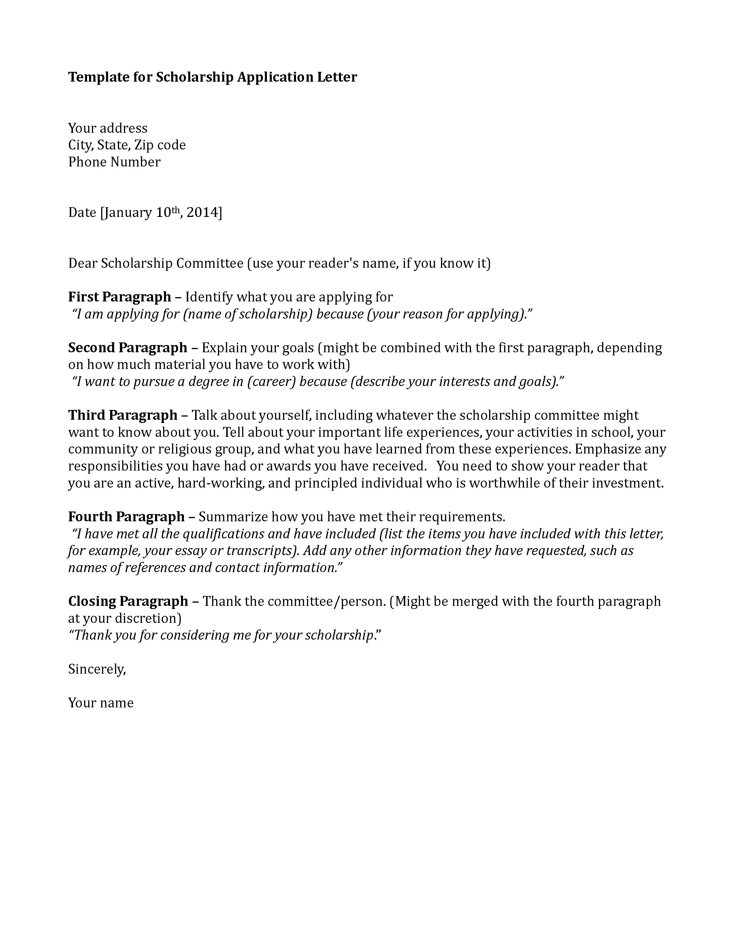 Template Scholarship Application Letter Letters Cover