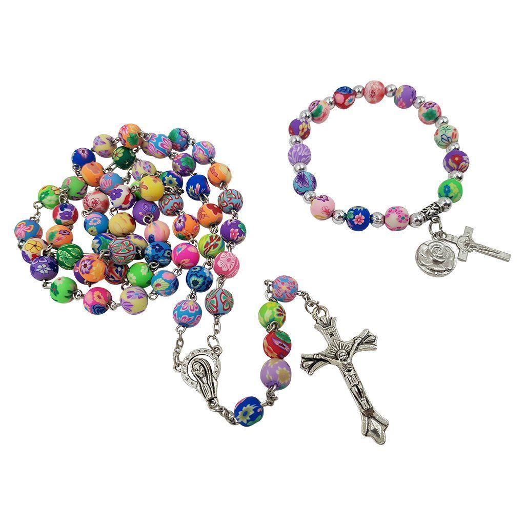 Multi color beads catholic rosary necklace men bracelet
