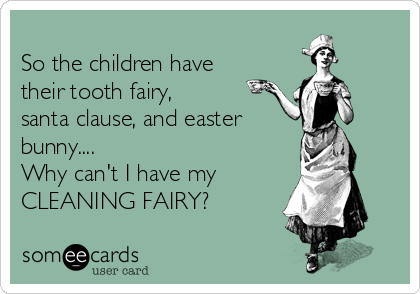 So The Children Have Their Tooth Fairy Santa Clause And Easter Bunny Why Can T I Have My Cleaning Fairy Cleaning Quotes Funny Clean Funny Memes Cleaning Quotes