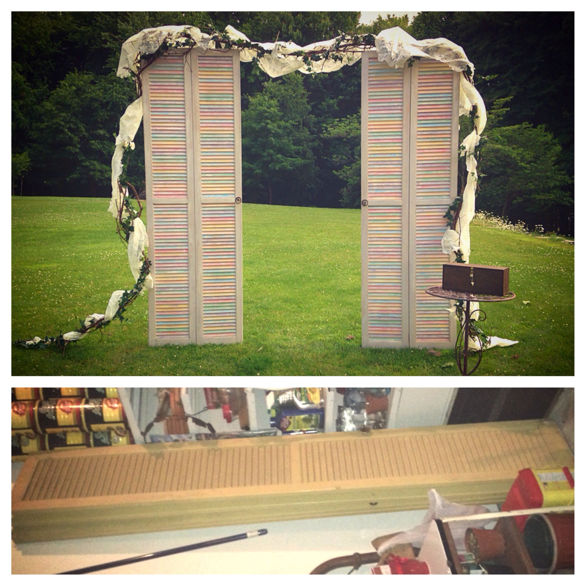 wedding. shutters. pastels. louvered doors. chalk paint. vintage