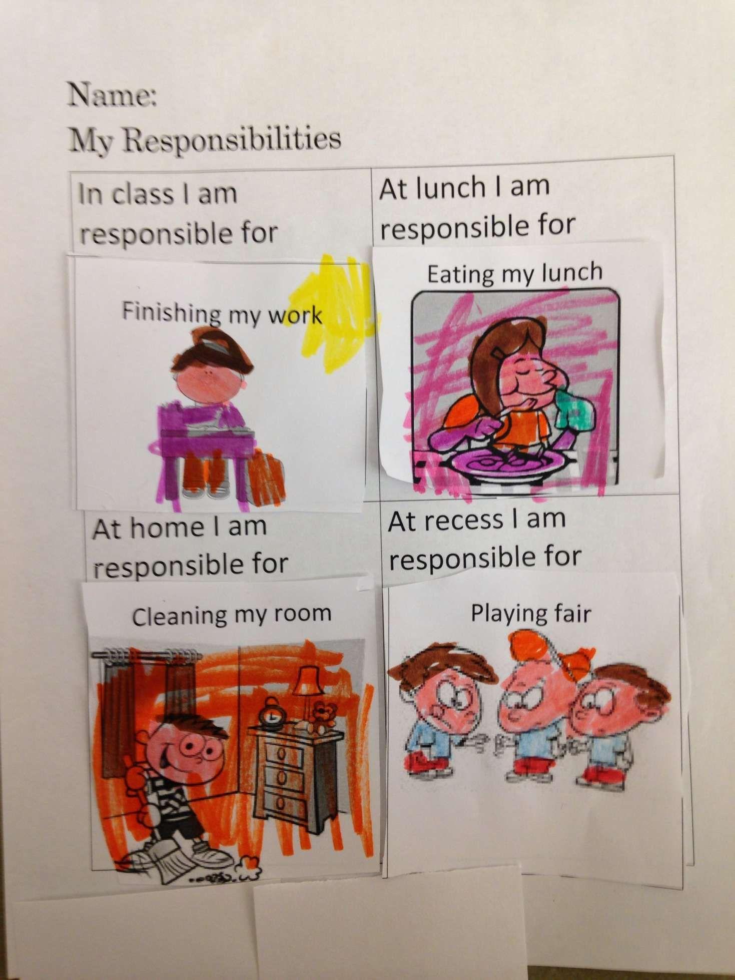 9 Responsibility Worksheet Kindergarten