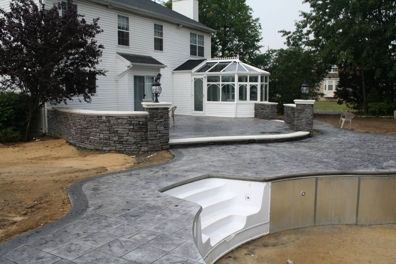 Gray Stamped Concrete Pool Patio In 2020 Patio Concrete
