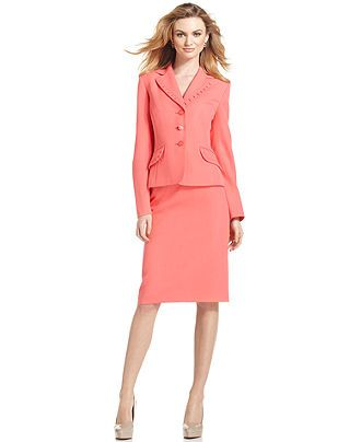Evan Picone Suit Pleated Collar Jacket Skirt Womens Suits