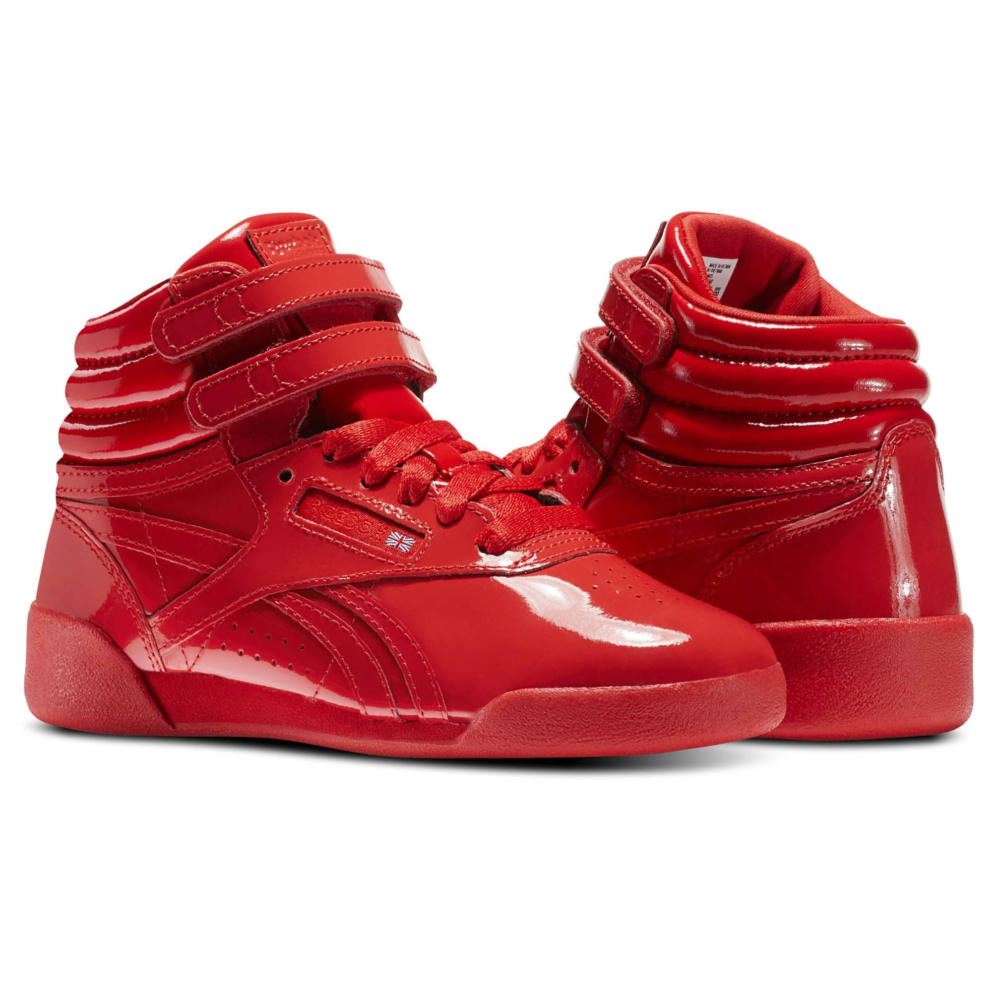 Reebok Freestyle Hi Patent Leather Pre School Red 3
