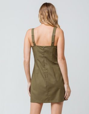 6b8318ecbd4 SKY AND SPARROW Linen Side Button Olive Structured Dress