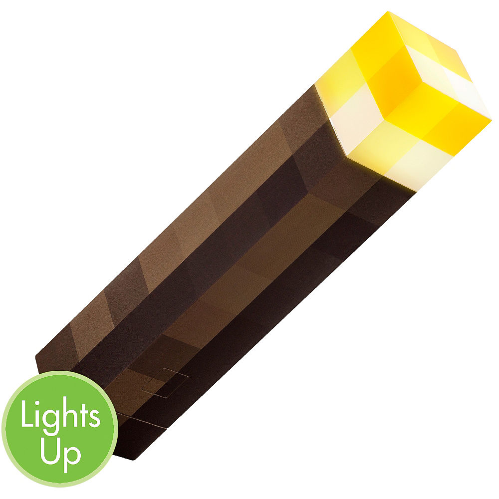 Light Up Minecraft Torch 2 3 4in X 11 3 4in Party City Minecraft Costumes Party Stores Online Party Store