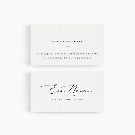 Wedding Photography Business Names: Eva: Business Card Template For Google Drive, Fine Art