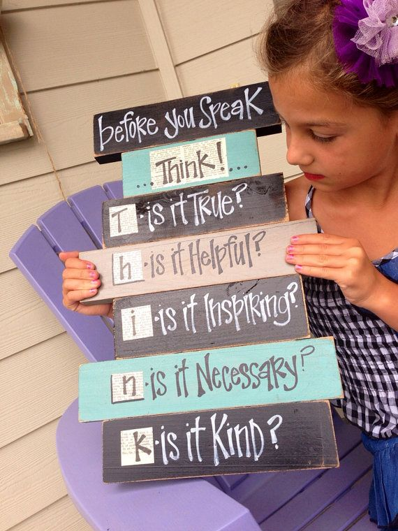 Before you speak think classroom wood sign | Pre-K