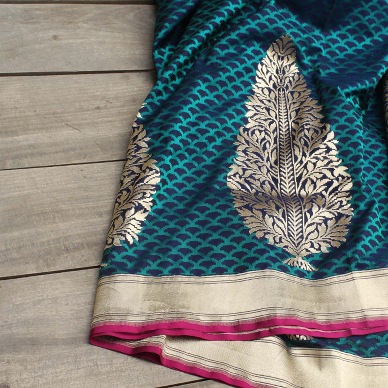 7ce85b55c7 Royal-Navy Blue Pure Katan Silk Banarasi Handloom Saree - Tilfi - 1
