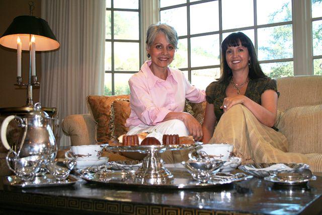 Sandra Jordan and Claudia Juestel taking tea. Designers.