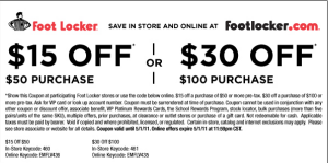 graphic regarding Foot Locker Printable Coupons named $15 Off $50/$30 Off $100 Footlocker Printable Coupon Things