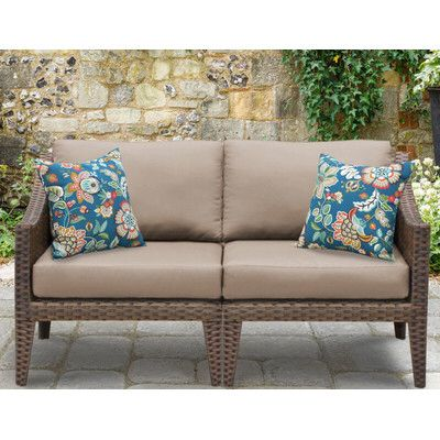 Manhattan Outdoor Wicker Loveseat With Cushions. Wicker Patio FurnitureTransitional  ...