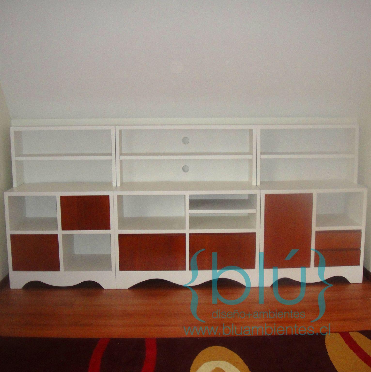 Mueble Modular Sala De Estar Lacado Con Madera Proyectos  # Muebles Modulares