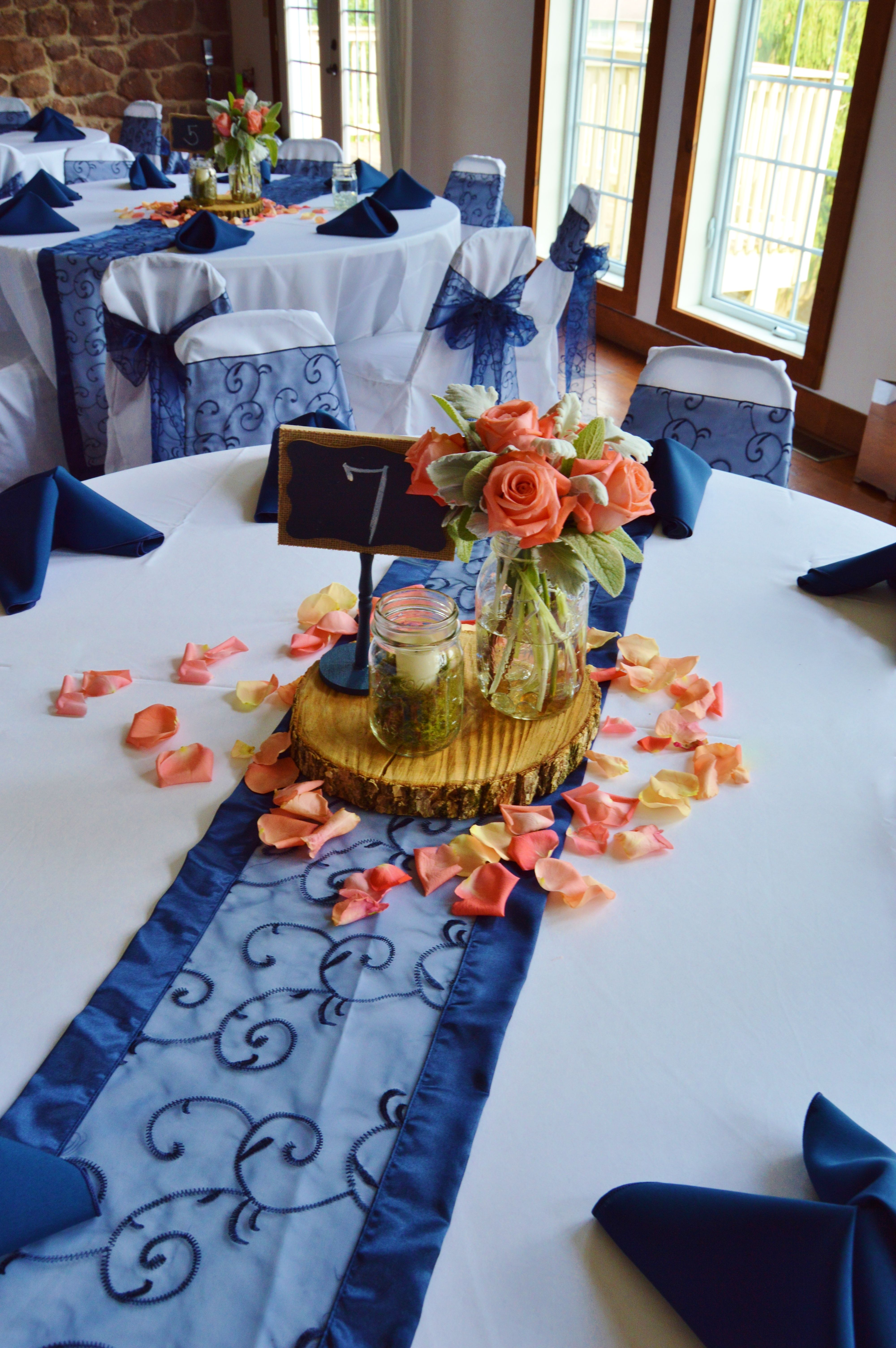 Wood With Glass Coral Roses And Lambs Ear Centerpiece With