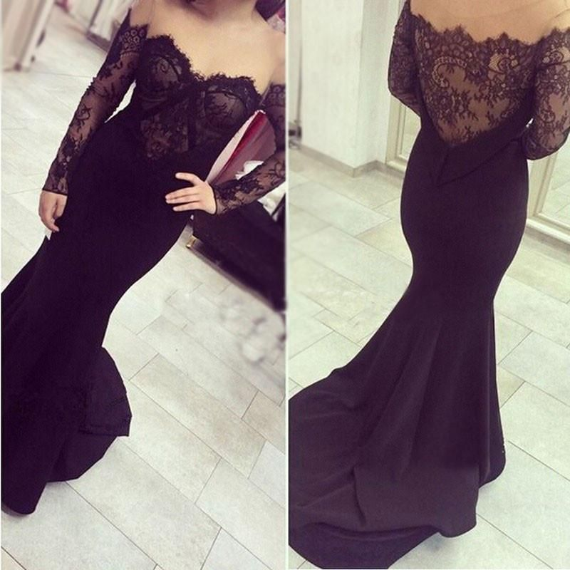36e1c249cd09 Black Off the Shoulder Lace Long Sleeves Sweetheart Mermaid Prom Dresses