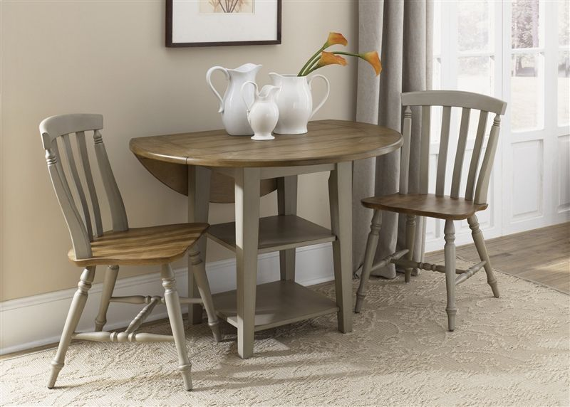 Al Fresco Drop Leaf Leg Table 3 Piece Dining Set In Driftwood Taupe Finish By Liberty Furniture 541 Cd Ls