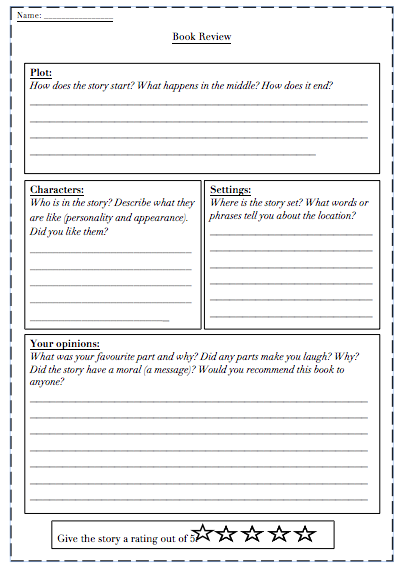 Writing a book review ks2 template