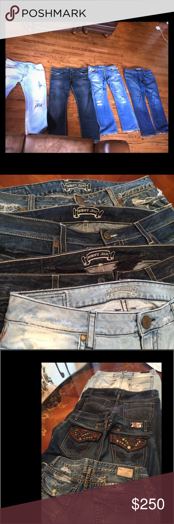 4 pair robins jeans bundle great condition 100% authentic Worn a few times need a new home  size 36 waist length 32   These jeans. Are gorgeous with each jean has a different look with there classic look robin's jeans Jeans Bootcut