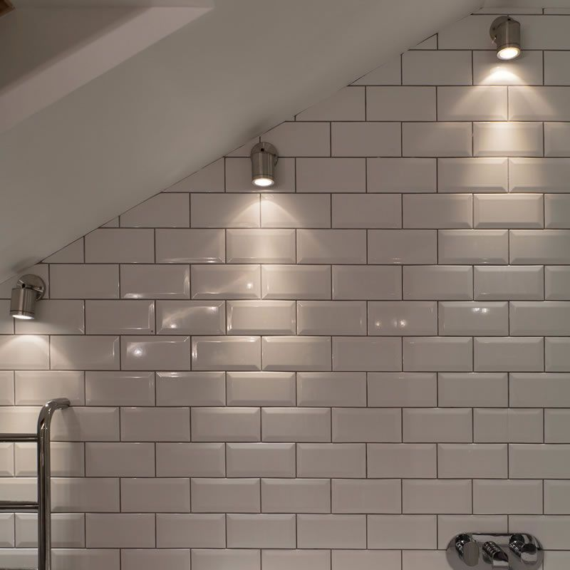Wall spot light wall mounted light in a sloping bathroom for Ensuite lighting ideas