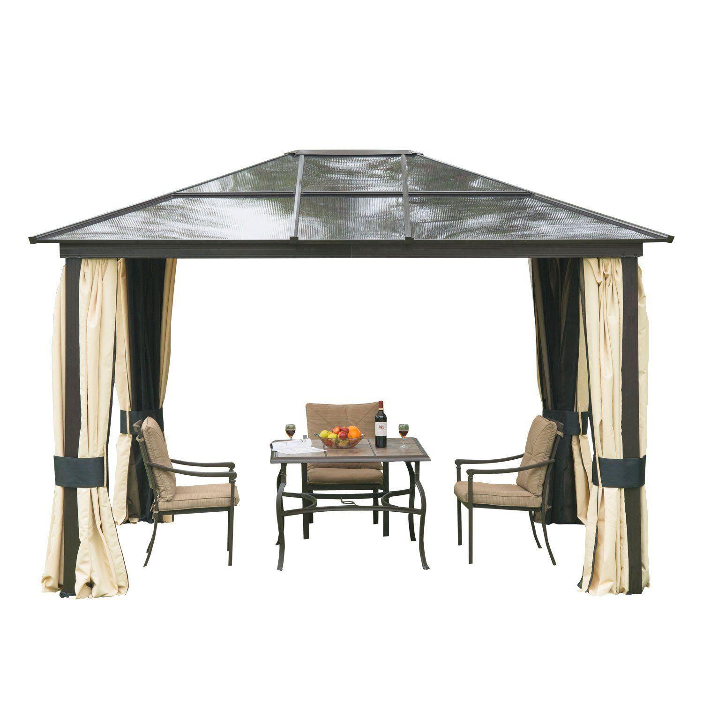 12 X 10 Outdoor Garden Patio Canopy Party Hard Top Gazebo Sun Protect Steel