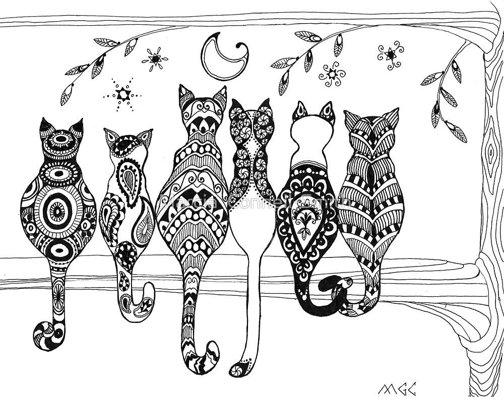 Pop Art Zentangle Cats Lovers Moon by Marcia Connell-Smith | gatitos ...
