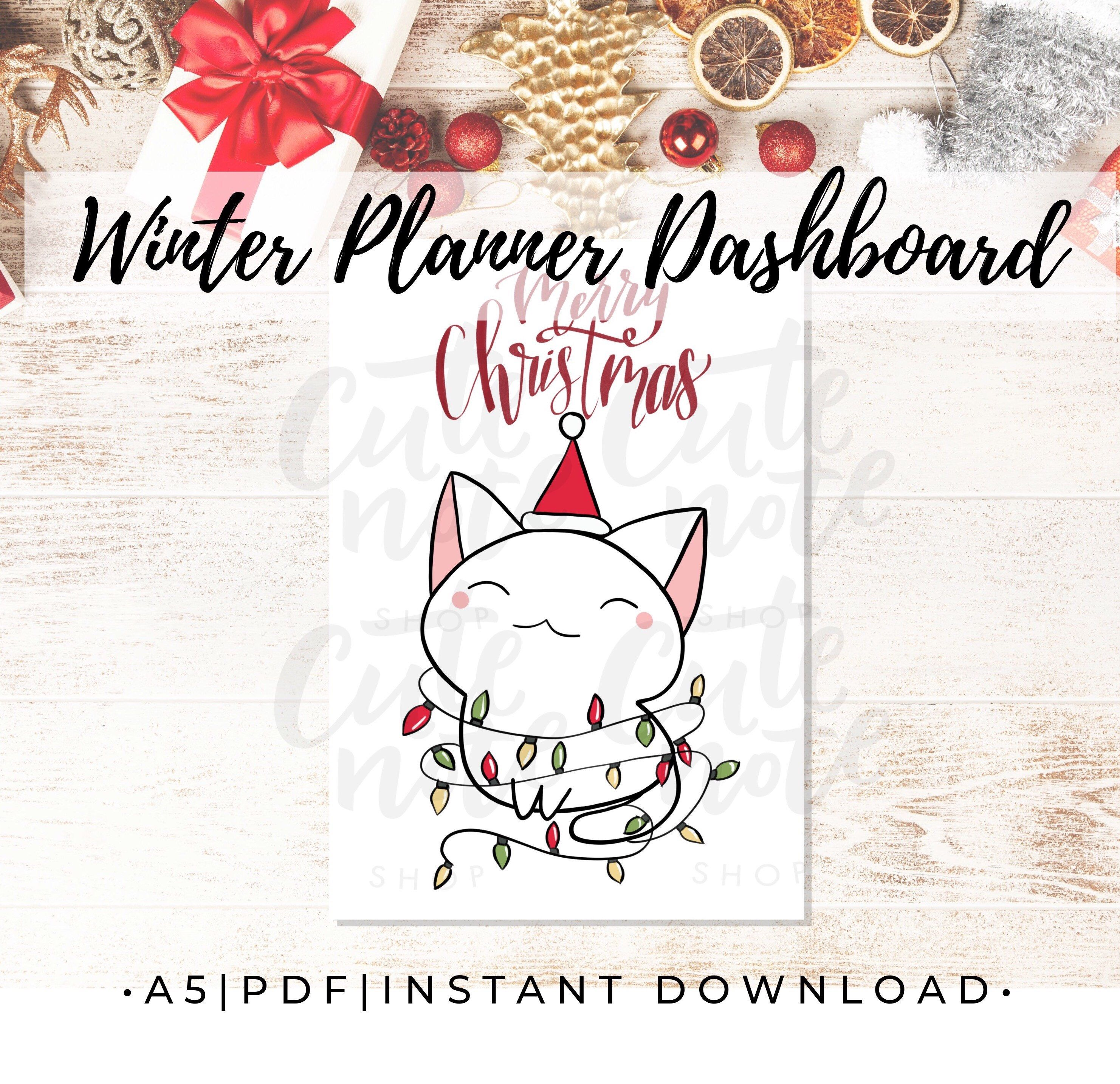 A5 Christmas Cat Planner Dashboard Printable A5 Planner Etsy In 2020 Christmas Planner Free A5 Planner Planner