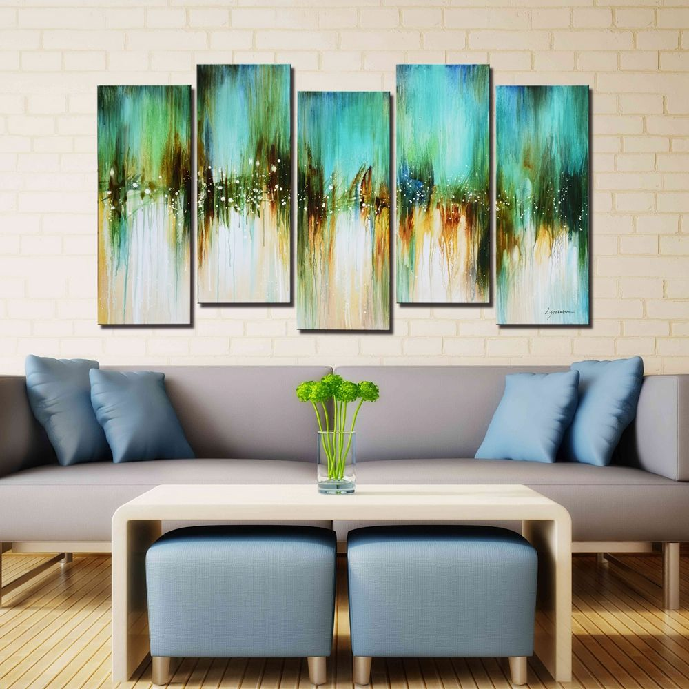 Oil Painting For Living Room Artland Hand Painted Framed Wall Art Blue Skies 5 Piece Gallery
