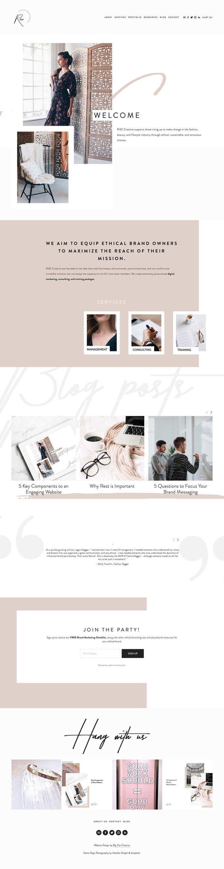 Squarespace Template Showcase Rise Creative Co Web Design Inspiration Web Design Inspiration Website Design Inspiration Design