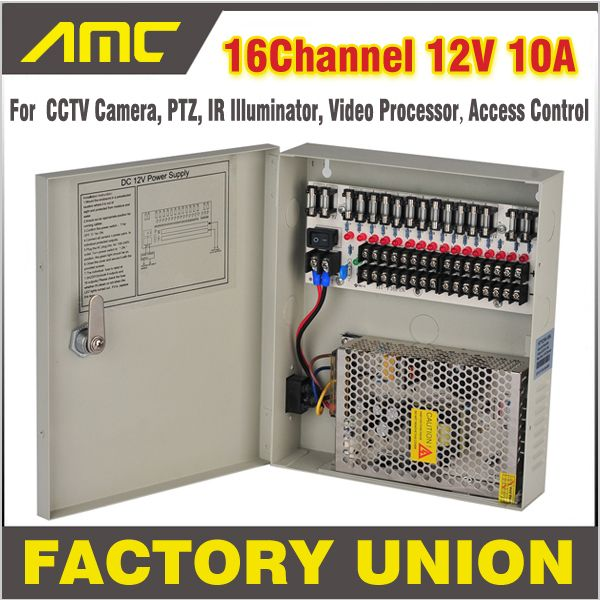 Cctv Power Box 16 Channel 12v 10a Support Ptz Ir Illuminator Access Control For 16ch Dvr Cctv Camera Power Supply Cctv Camera Dvr Cctv Access Control