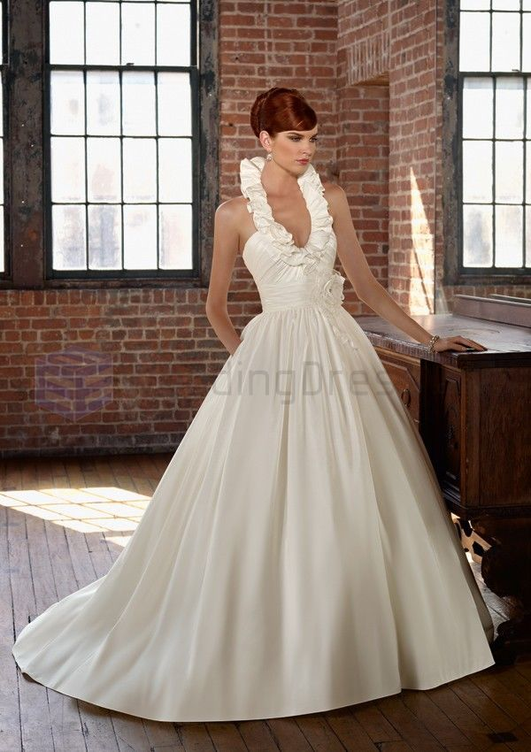 Ball Gown Radiant Taffeta Removable Flower Ruching Bodice Oval Strap Neckline Chapel Train Wedding Dresses(ML4805)