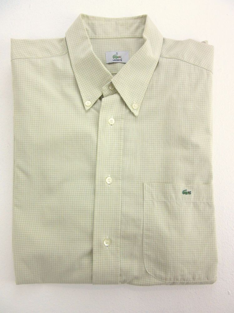 MEN S LACOSTE Casual LIME GREEN Short Sleeved CHECK SHIRT Retro SIZE LARGE  st19 867040724