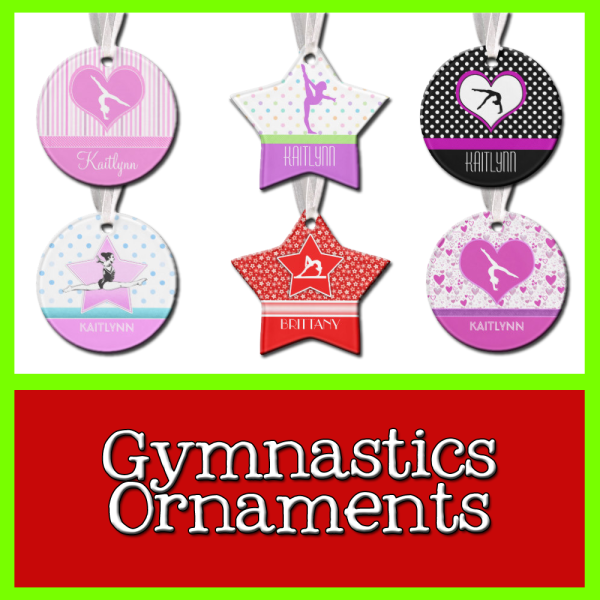 Gymnastics Christmas Ornaments - Lots of styles, lots of colors.  Super easy to personalize with a name/year!  #gymnastics #christmas
