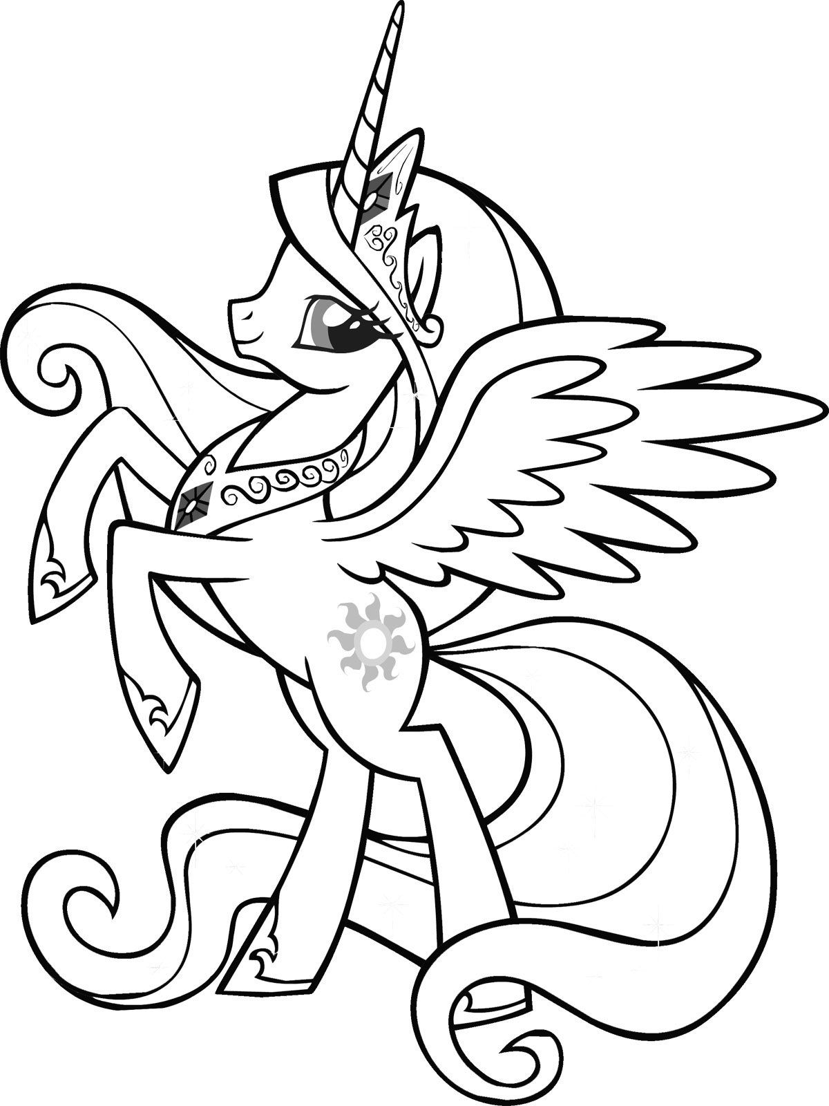Beautiful Queen My Little Pony Coloring Pages Unicorn