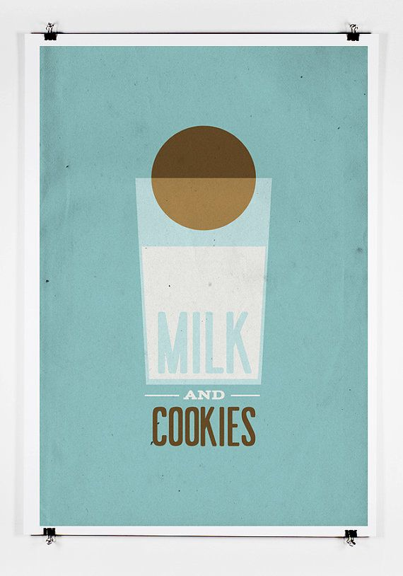 Milk and Cookies Poster Art Print by twenty21onecreative on Etsy, $25.00