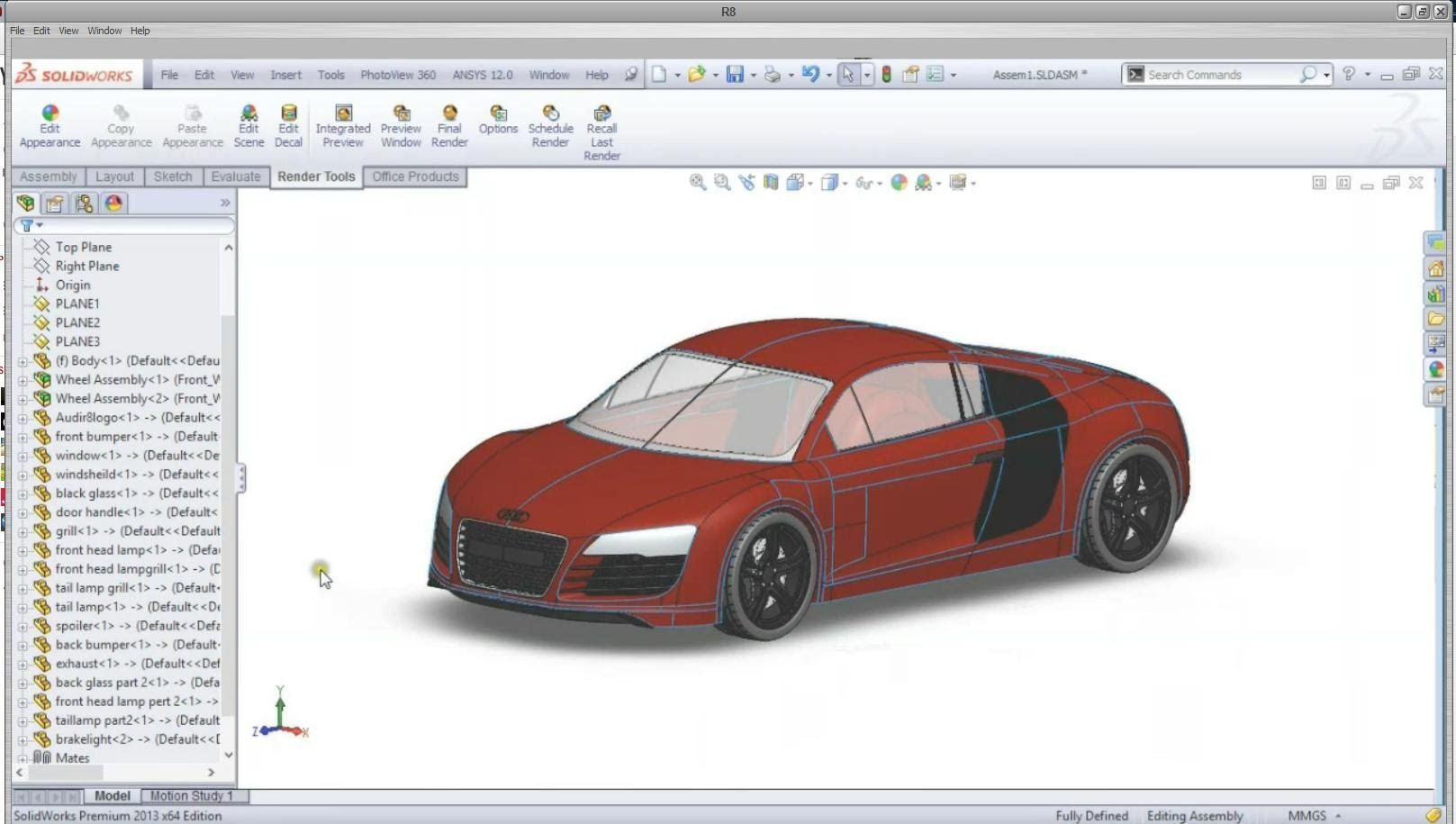 Solidworks Audi R8 Car Complete Tutorial | Audi r8 car ...