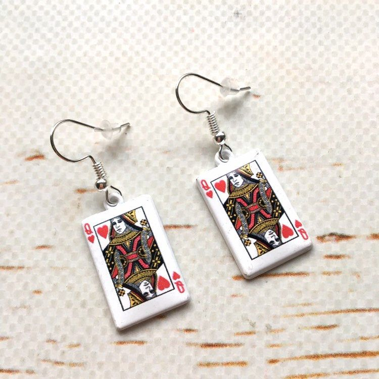 Alice earrings and polymer clay cards