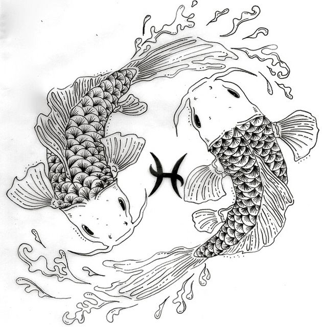 Colouring Pages Pisces Google Search Koi Fish Drawing Fish Coloring Page Pond Drawing
