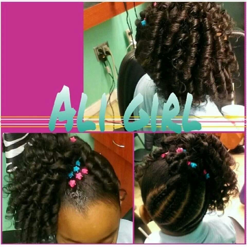 Little Girl Hairstyle Braided Back With Spiral Curls Hair