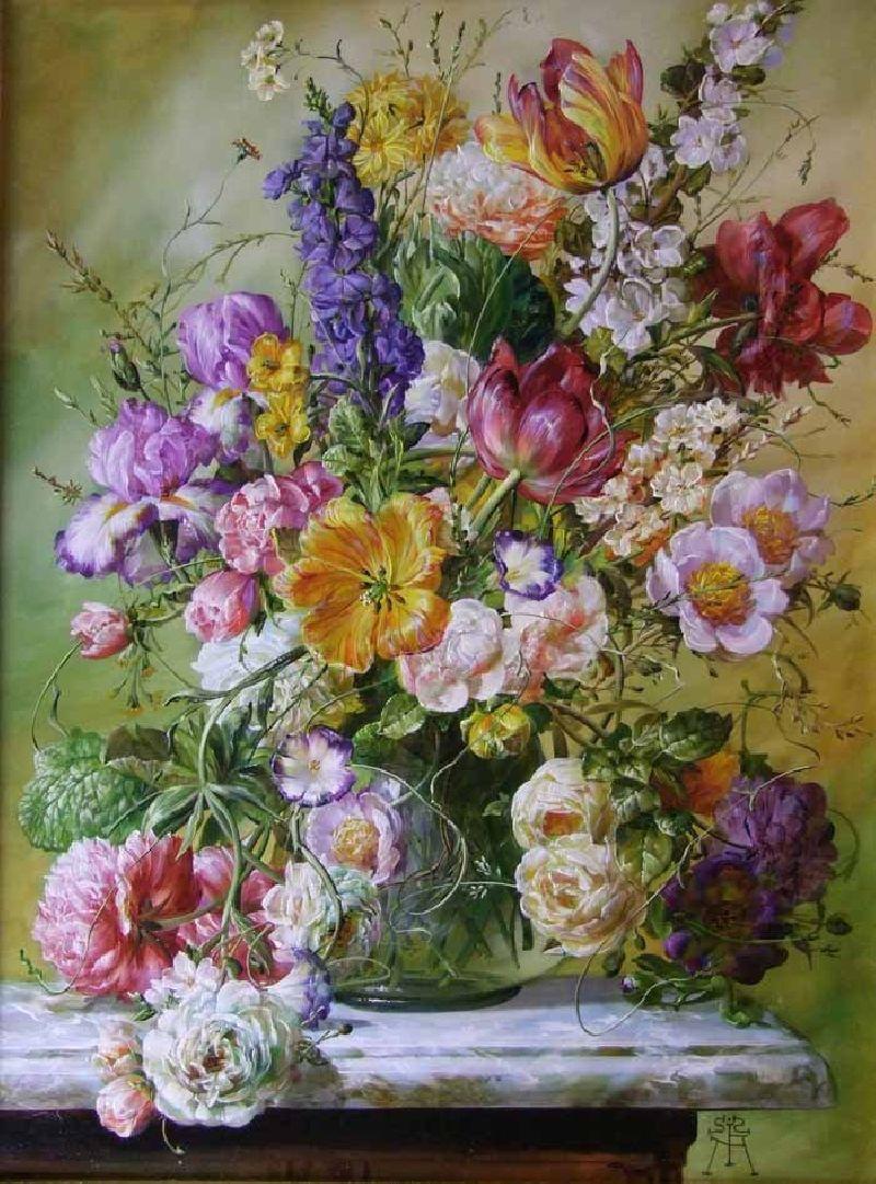 Flowers in a Glass Vase on a Marble Ledge Gyula Siska