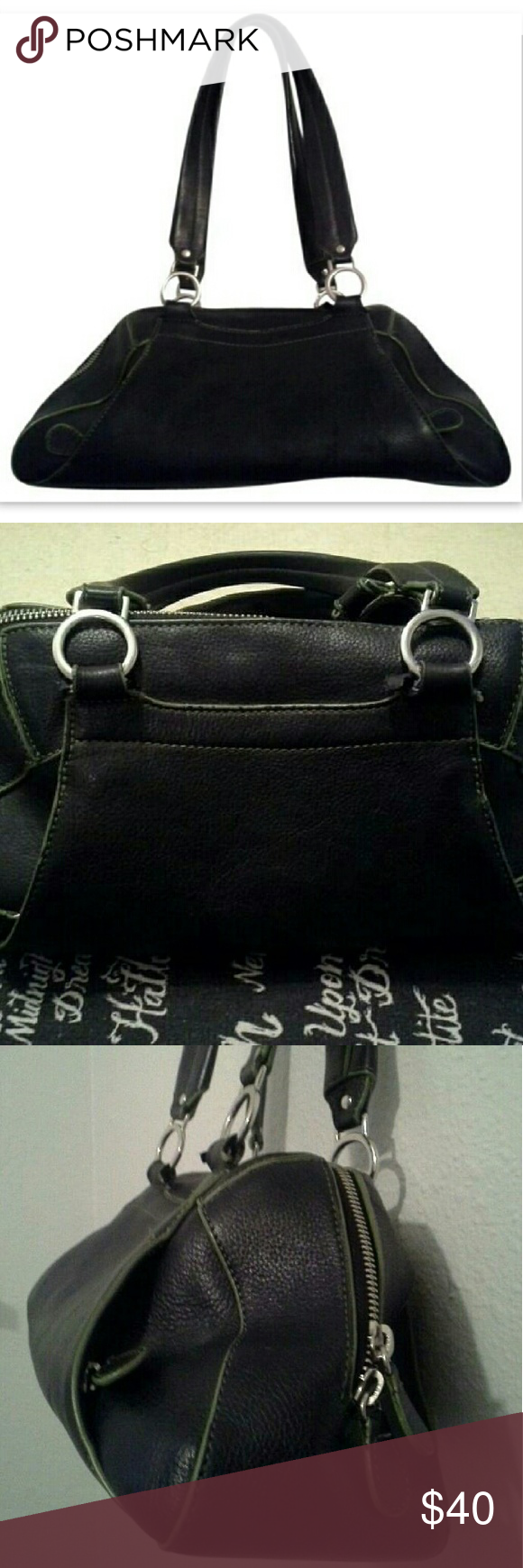 """Danier Genuine Leather Handbag Black Shoulder Bag Gorgeous Danier Genuine Leather handbag! MAKE ME AN OFFER : ) Great overall condition - minor signs of wear (some very light peeling, small mark on bottom), tons of use left! See pics! Classic black baguette shoulder bag with green accents! Tons of zip pockets to store all of your essentials! Medium size, comfortable carry. Perfect purse for fashionable ladies!  Retail $249! Measurements are as follows:  Height: 6""""  Length: 14""""  Width: 3.5""""…"""