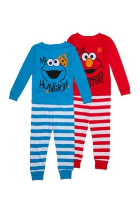 Sesame Street Elmo And Cookie Monster 4-Piece Cotton Pajama Set Toddler Boys 94b02d780