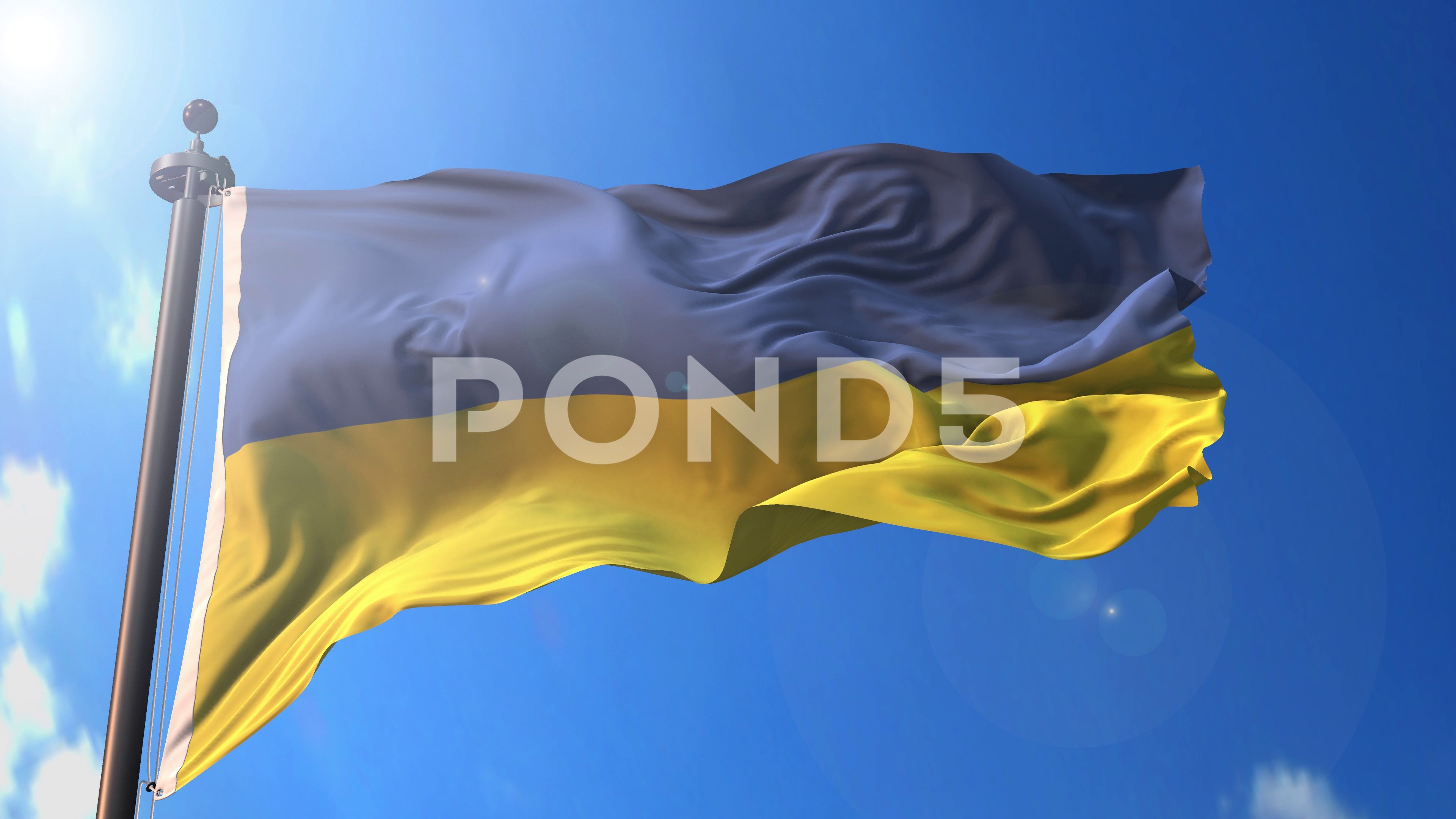 Ukraine animated flag pack in 3D and green screen Stock