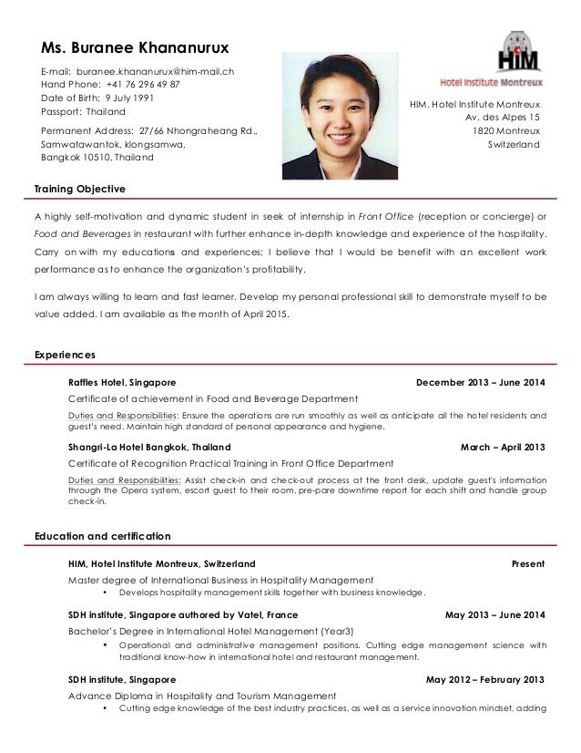 Resume for hotel management industrial training