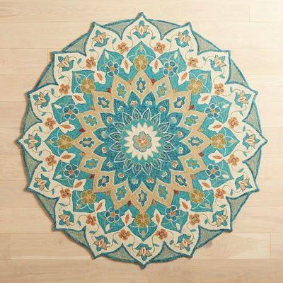 Meri Mosaic Blue Round Rug Patio Rugs Cool Rugs Round Rugs