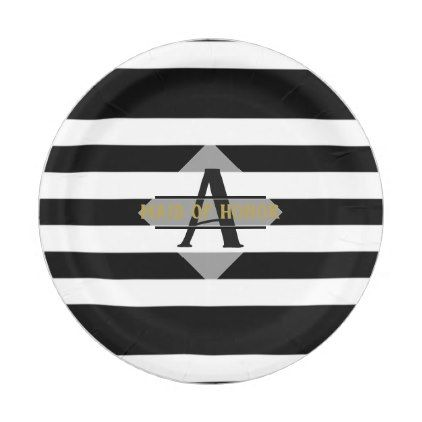 Black White Stripe Maid of Honor Gift Personalized Paper Plate - monogram gifts unique custom diy personalize | monograms | Pinterest | Black white stripes ...  sc 1 st  Pinterest & Black White Stripe Maid of Honor Gift Personalized Paper Plate ...