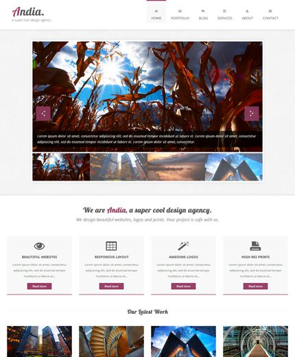 Free Html Template Andia Responsive Agency Portfolio Template Built With Twitter Bootstrap Free Html Website Templates Website Template Free Web Design