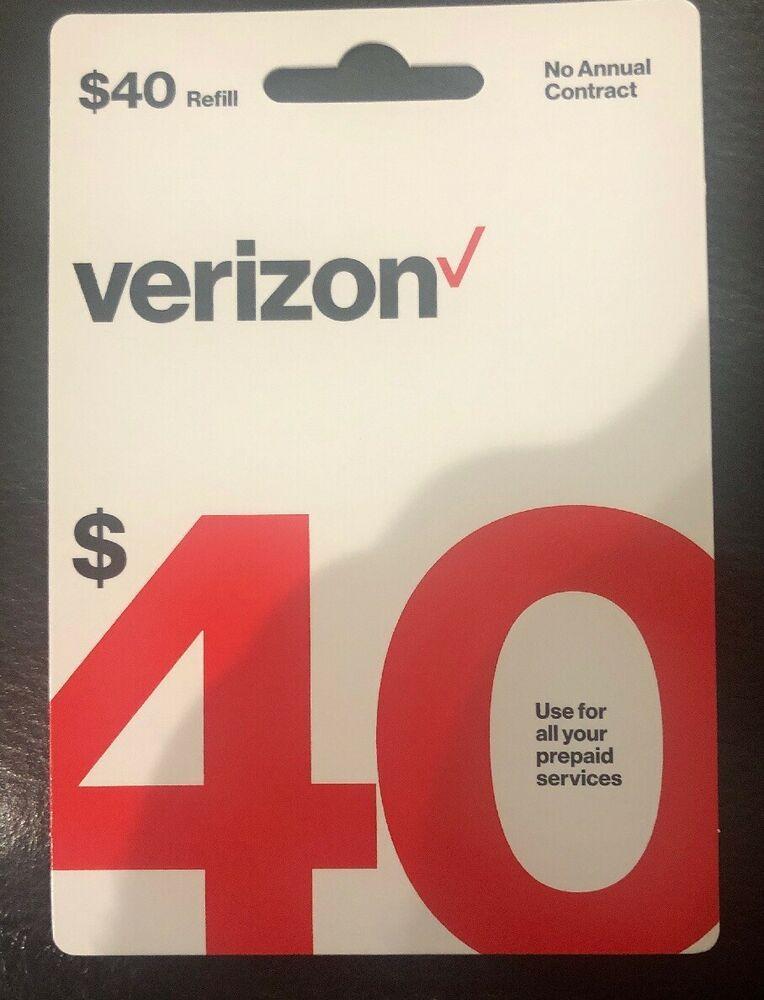 $27 00 or less!! $40 Verizon Wireless Prepaid Refill Card