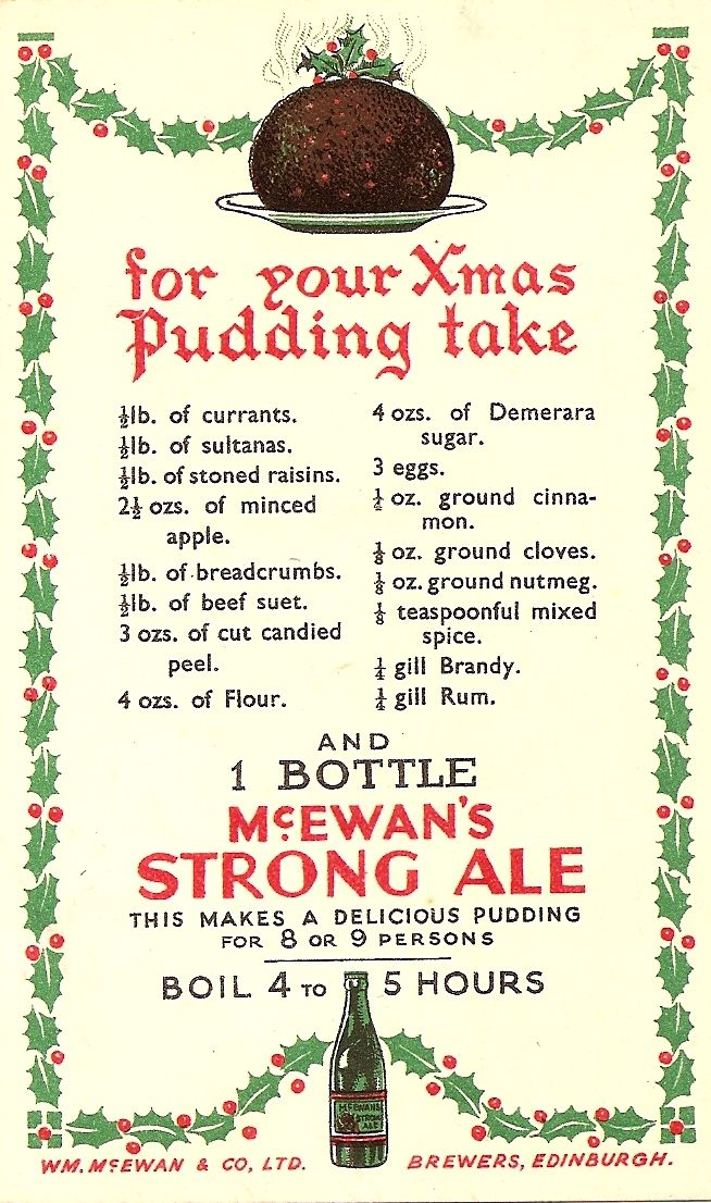 McEwan's Brewers - christmas pudding recipe postcard, c1930