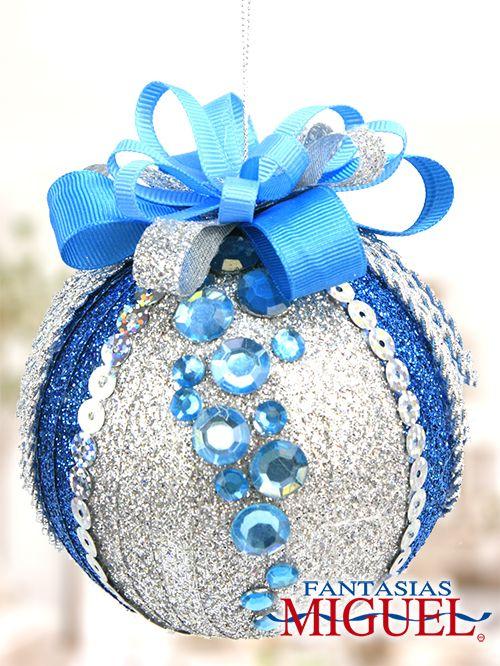 Esfera azul con plata navidad 2014 adorno decoraci n - Adornos de navidad 2014 ...